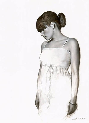 White Dress Study Figurative Wall Art Pr
