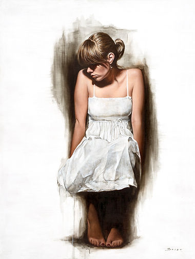 white dress sitting Alkyd Oil Painting by UK Figurative Artist Jonathan Brier  Art Broken Realism Artwork