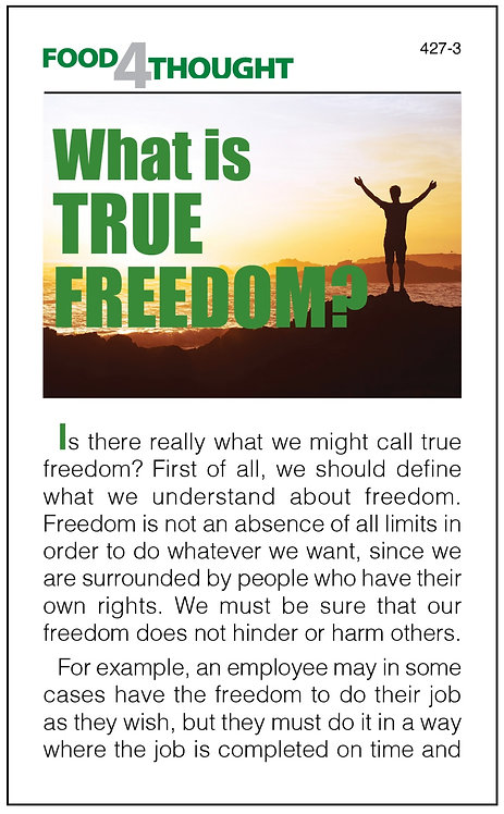 What is true freedom? (100 copies)