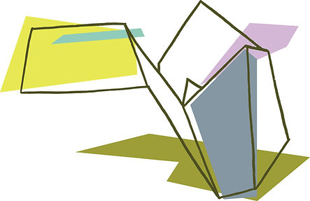 A dark green contour line drawing of a folded piece of paper in the shape of an open box. Green, grey, and purple geometric shapes overlay different sections of drawing.
