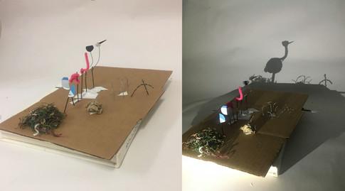 The Majestic Crane, Shykeem Davis, wood, fabric, paper, 2018