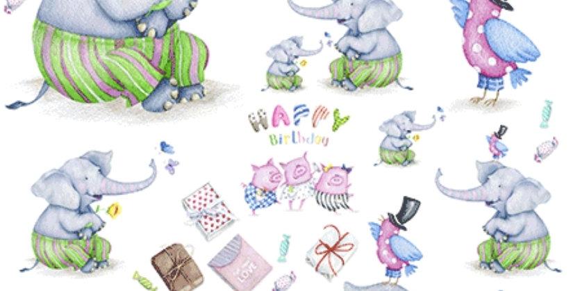 Elephant birthday Decoupage