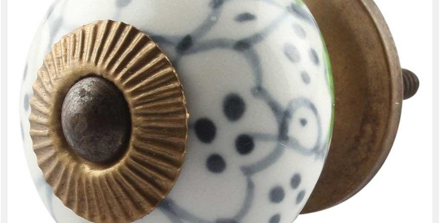 Knob grey and green dotten