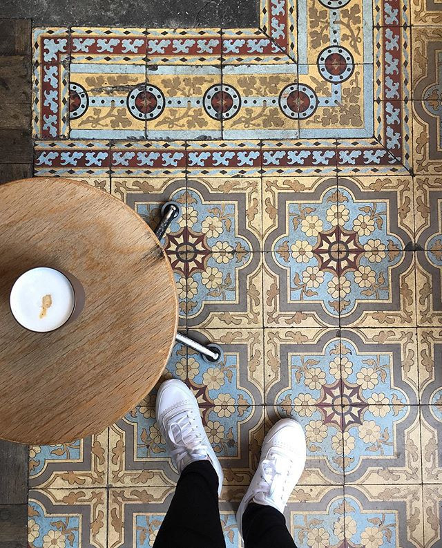 Coffee and floor at Café Capitale, Brussels, Belgium