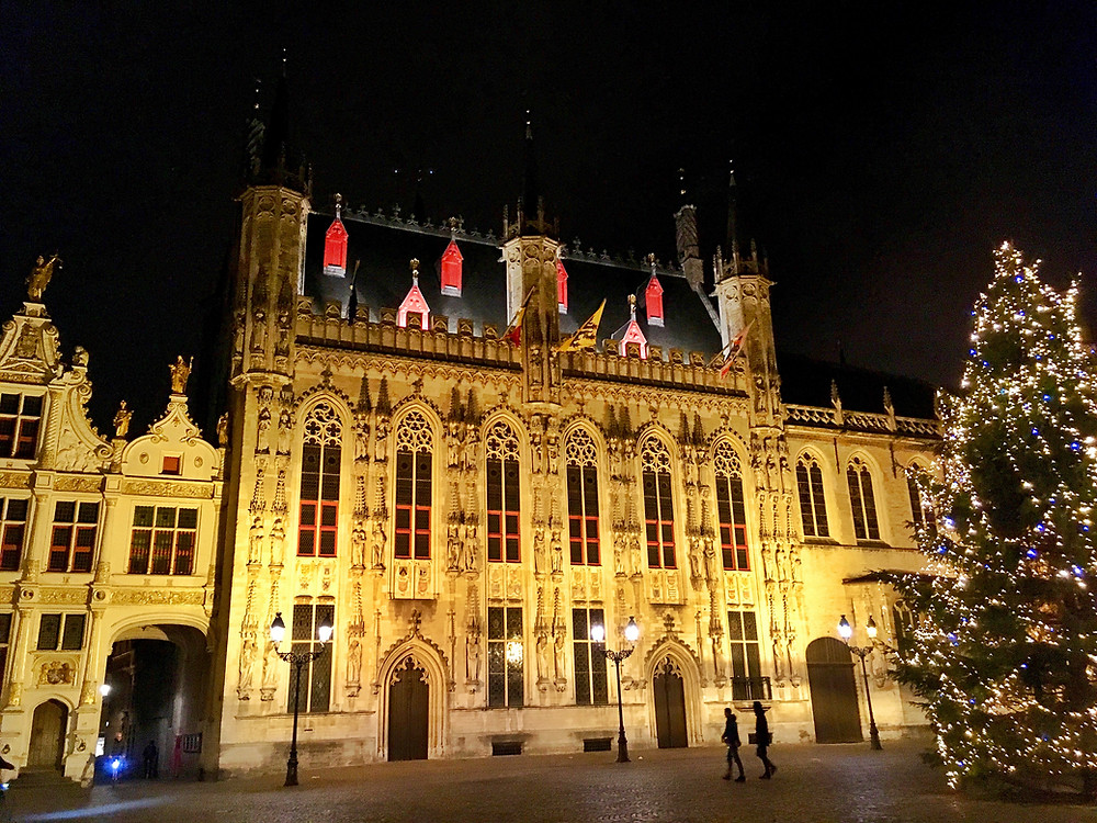 Christmas tree at City Hall in Bruges