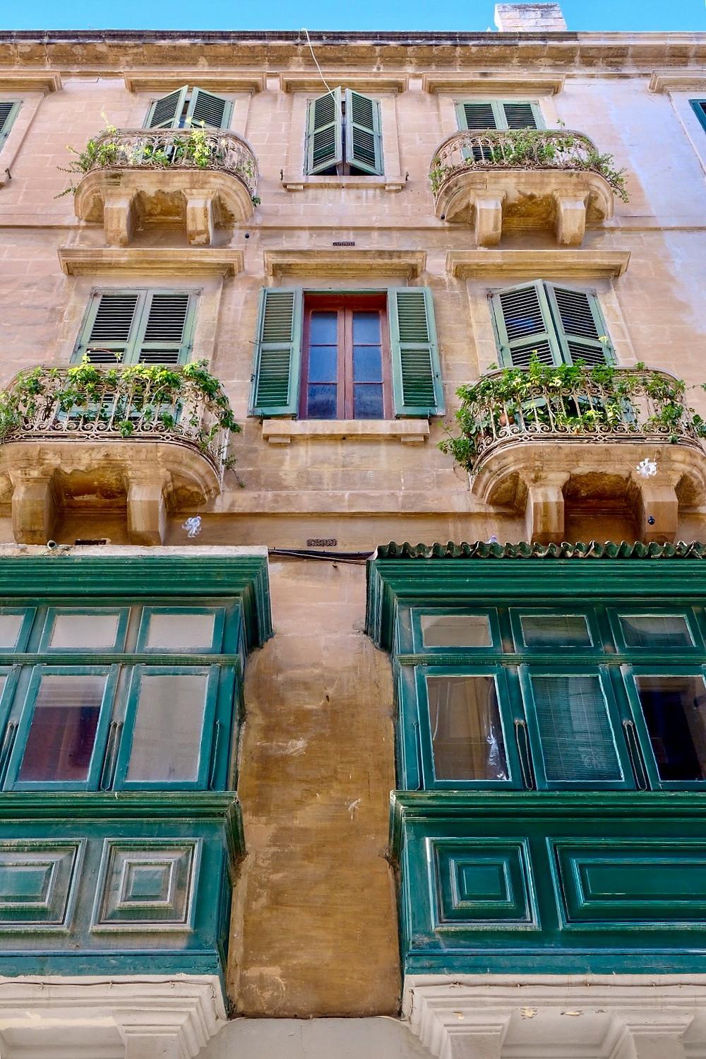 Wooden balconies in Valletta, Malta