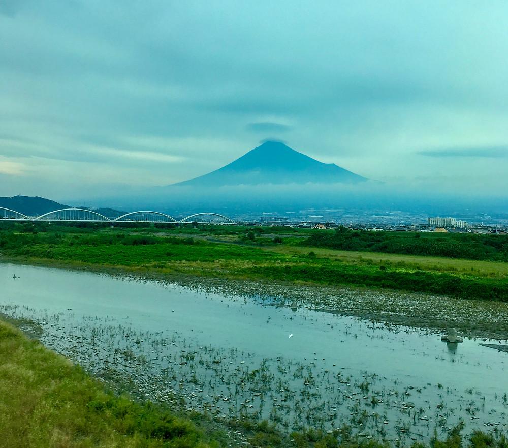 View at Mount Fuji from Shinkansen Japan