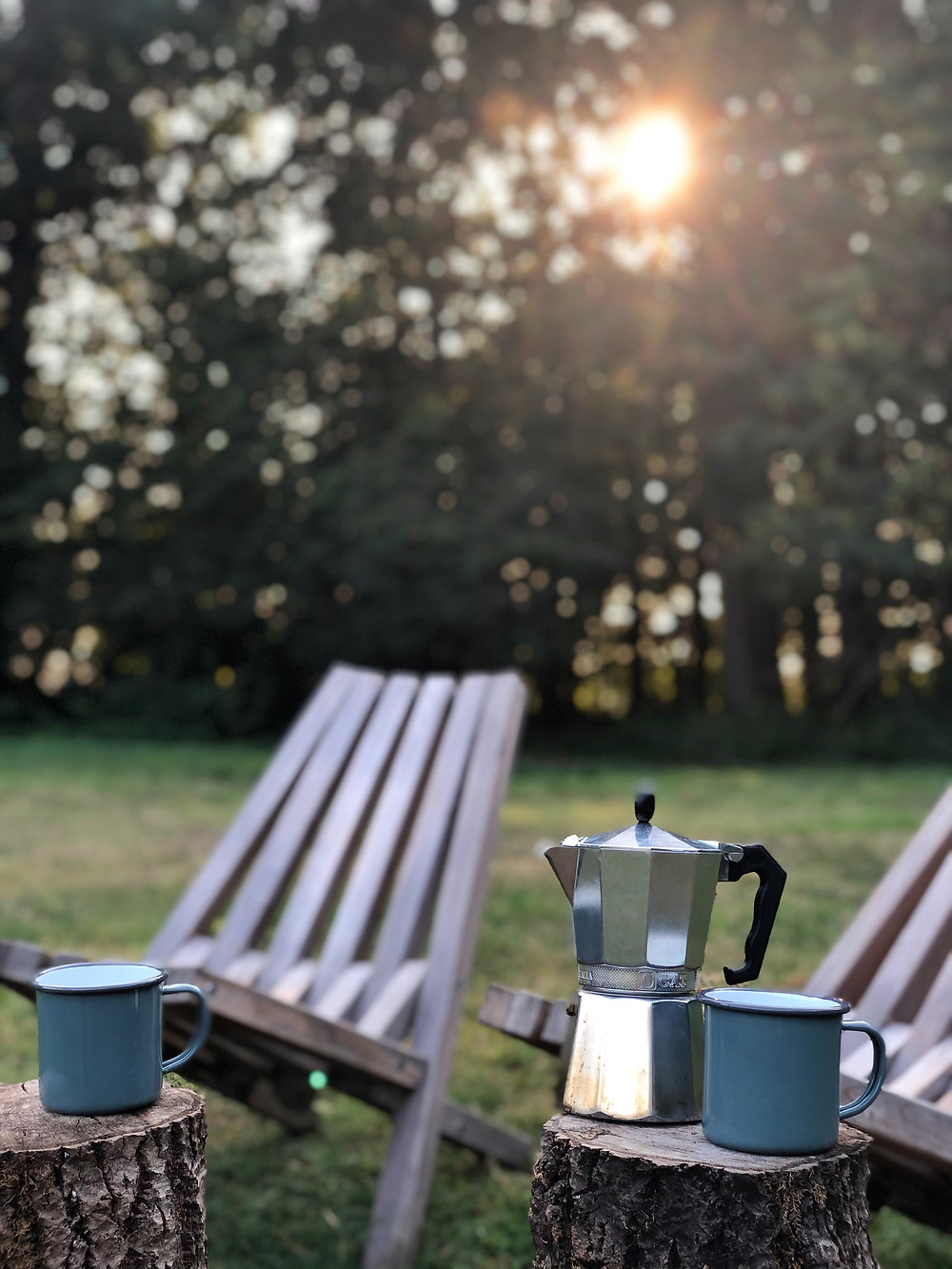 Bialetti coffee during sunrise at Slow Cabins Belgium