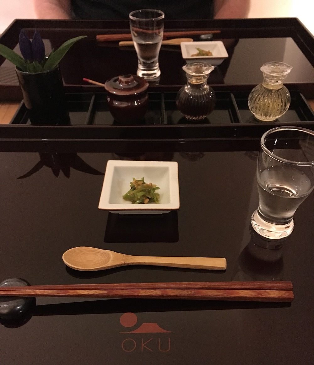 Table at Restaurant Oku in Kyoto Japan