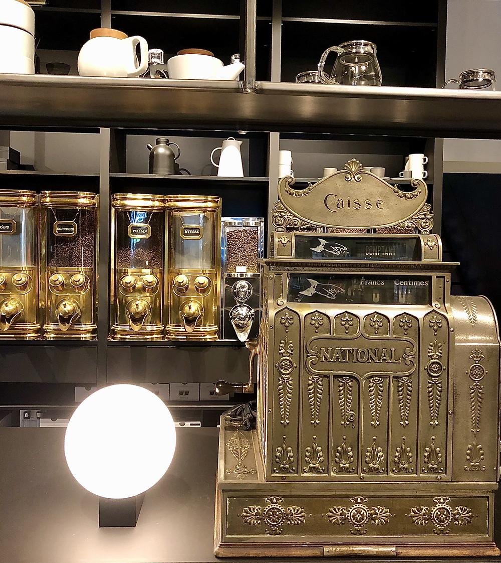 Coffees and antique cash register at Van Poeck Sint-Niklaas