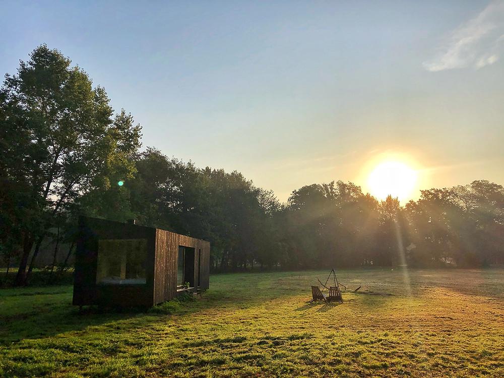Sunrise at Slow Cabins Belgium