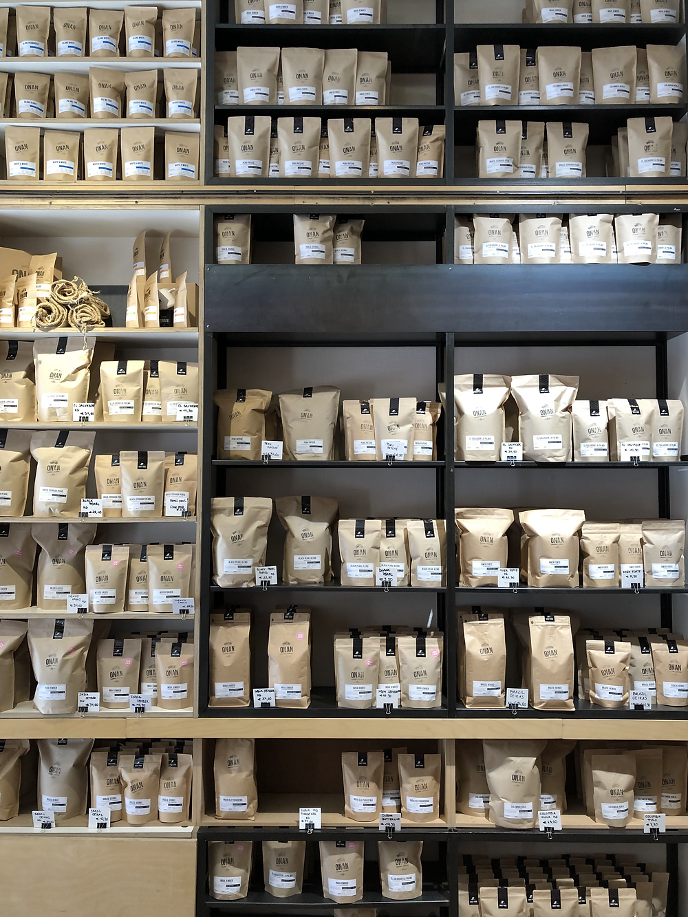 Coffee bags at Koffie Onan in Leuven