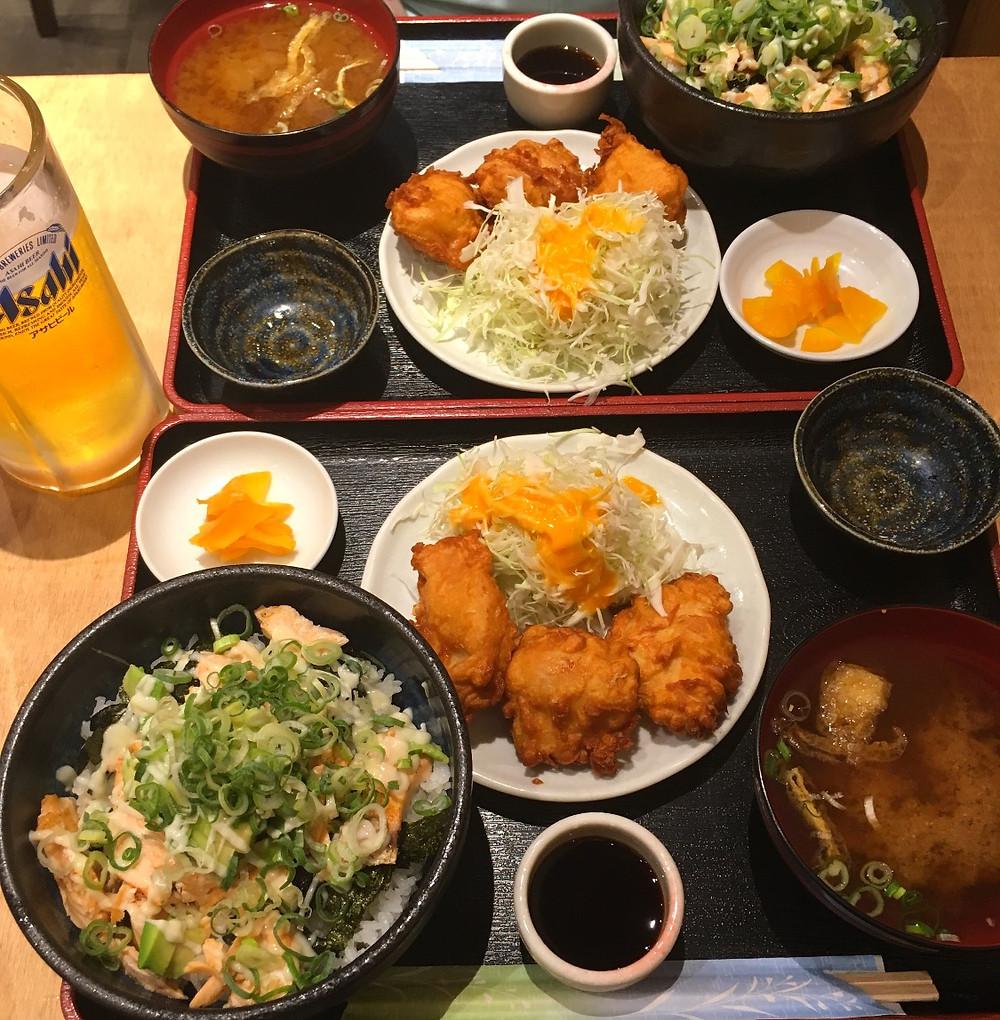 Food in Shinsekai, Osaka Japan