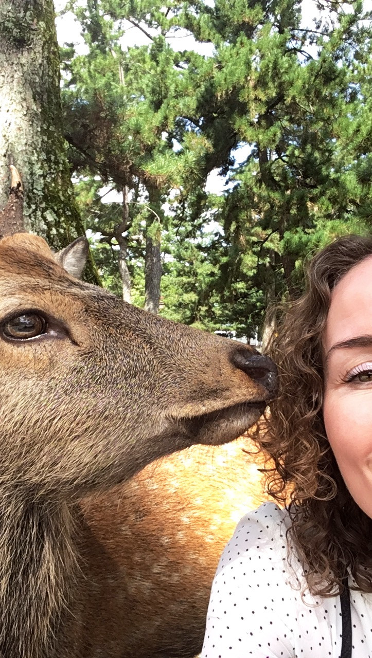 Lonnies Planet with deer in Nara Japan