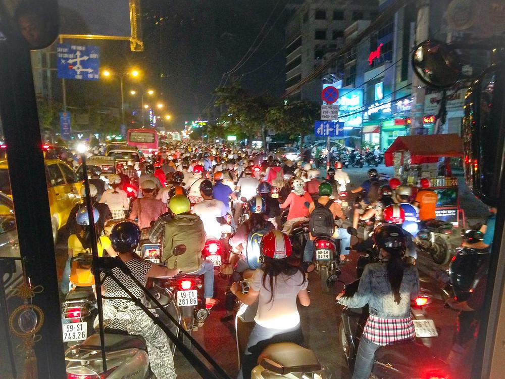Traffic jam in Saigon Vietnam