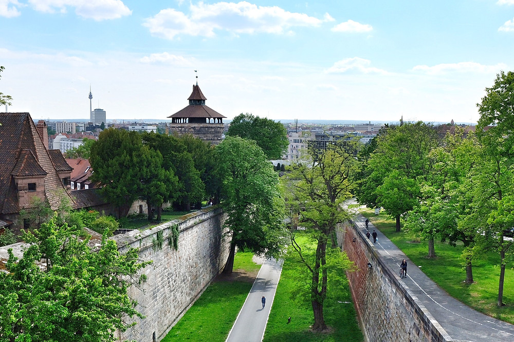 City wall and park of Nürnberg