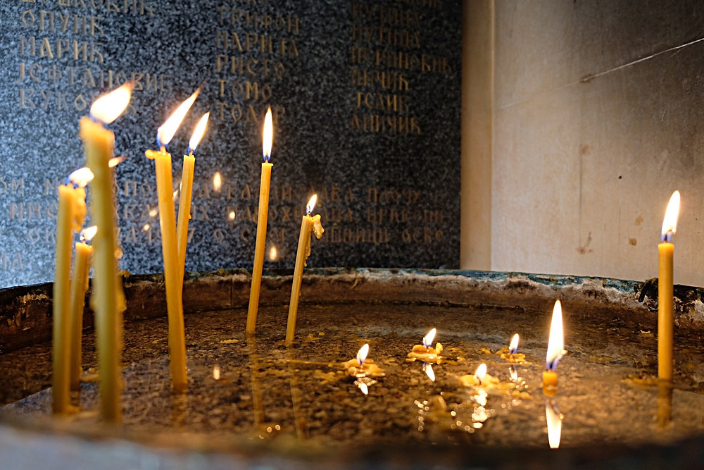 Candles at Orthodox Church in Dubrovnik
