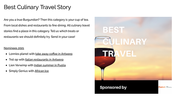 Nominee of a Belgian Travel Blog Award 2