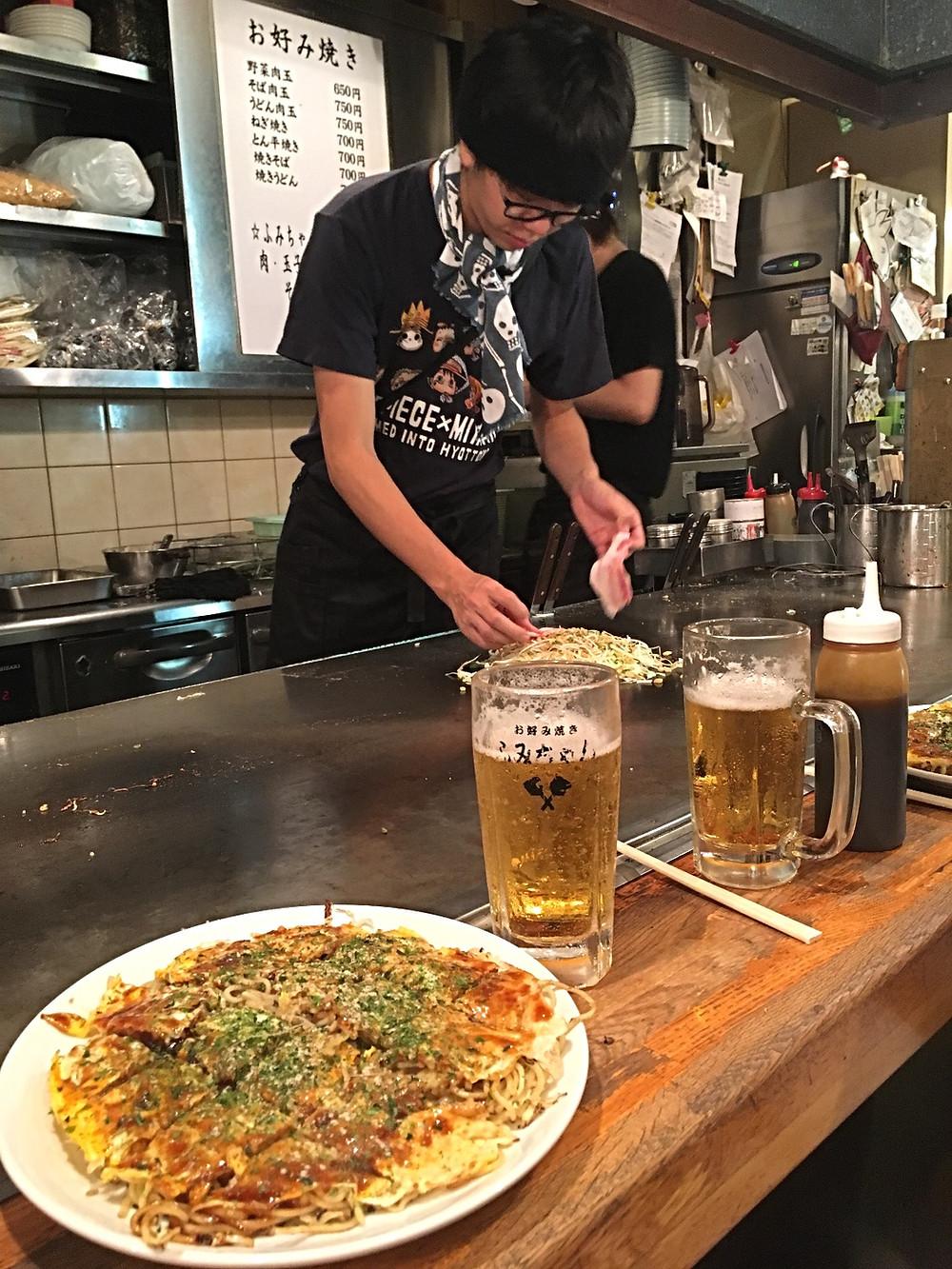 Okonomiyaki in Horoshima Japan
