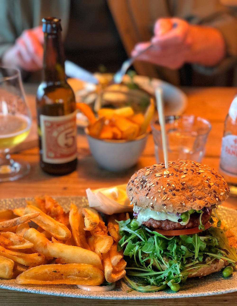 Vegan burger at Beach Bar 'West aan Zee' Terschelling