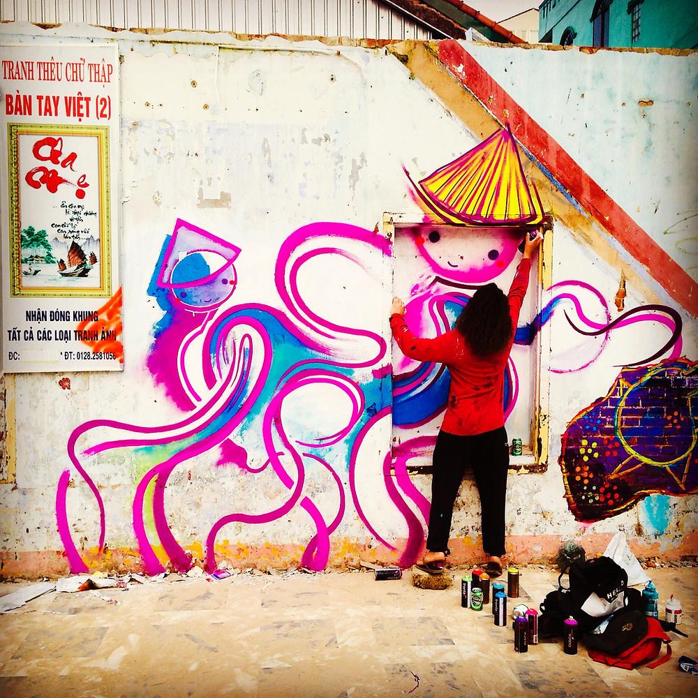 Graffiti artist 1escv in Hue Vietnam