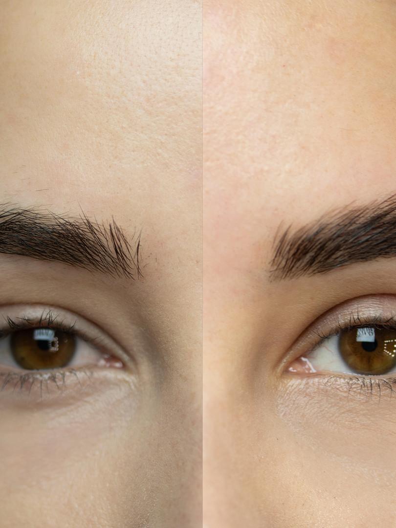 brwi-porównanie przed i po.