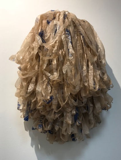 Nest, wire framing and plastic bags