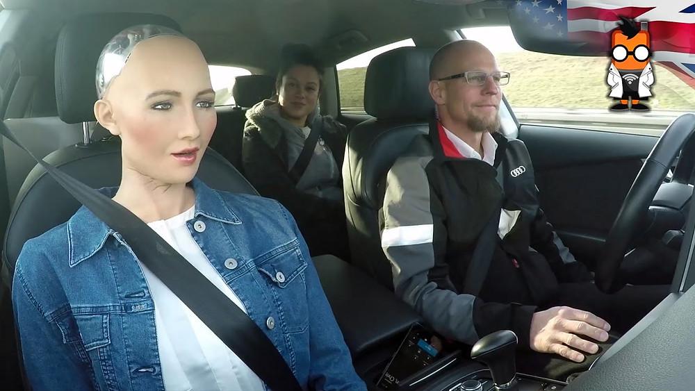 Sophia driving with Mobilegeeks.de