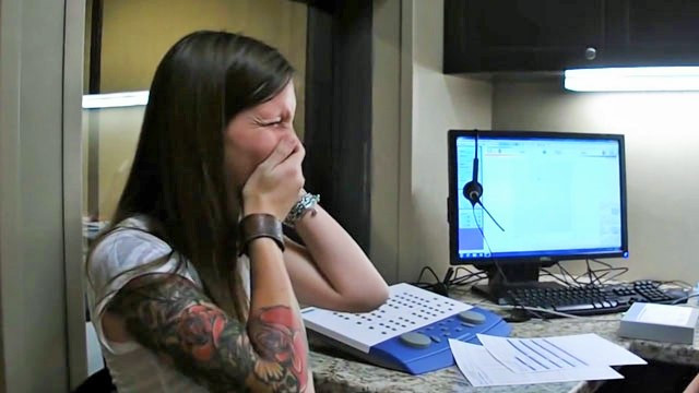Woman hearing for the first time ; from https://www.everydayhearing.com/hearing-loss/articles/5-beautiful-reactions-of-people-hearing-for-the-first-time/