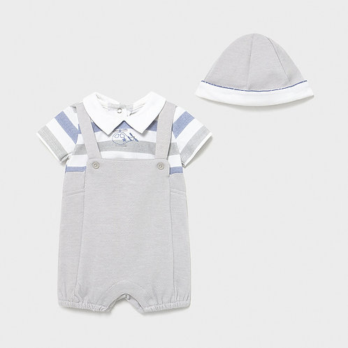 Mayoral knit overall with cap   1624