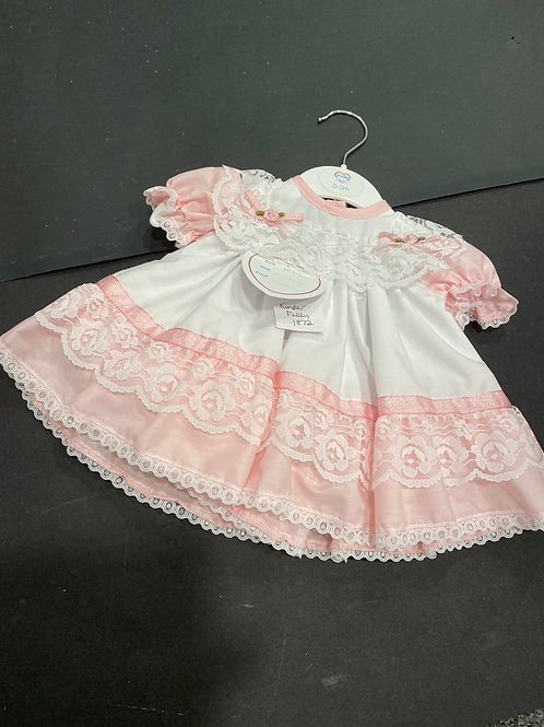 1872  Cotton Frilly Dress with Lace detail