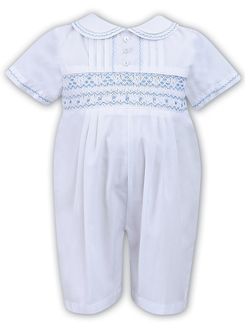 Sarah Louise Cotton Romper, with Smocking to front