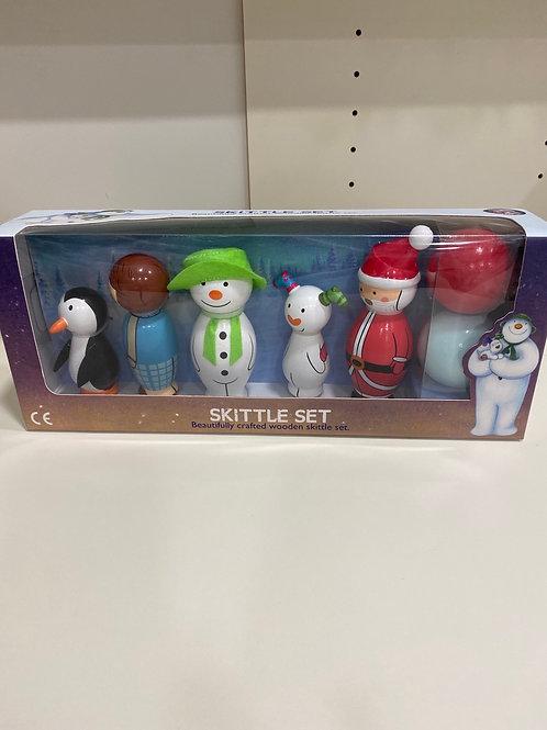 The Snowman wooden skittle set
