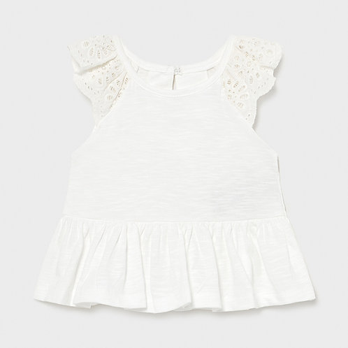 Girls Top with pretty Broderie sleeve  1.085