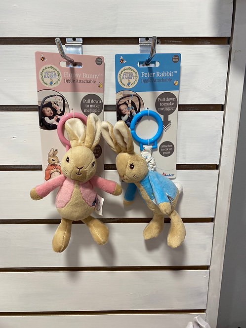 Peter Rabbit & Flopsy Bunny, attachable jiggle toy from birth