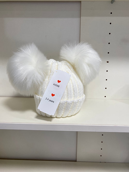 Faux fur double Pom Pom hat
