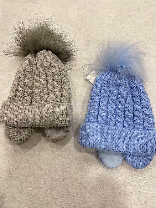 Faux fur lined Pom Pom hat