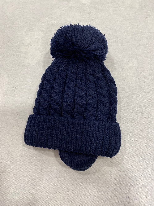 Little Nosh cable Pom Pom hat with ear covers