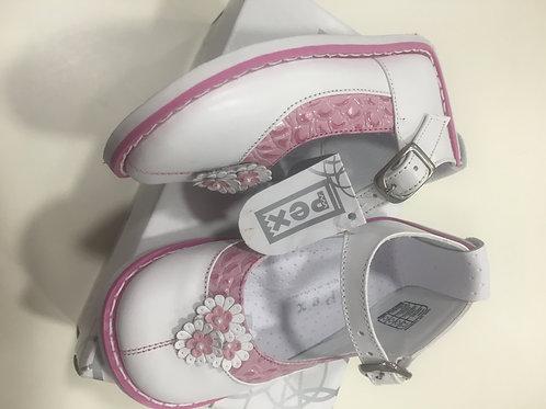 Pex Buenna shoe,  Hard sole, white with pink trim