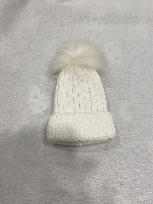 Lined Faux Fur Hat White