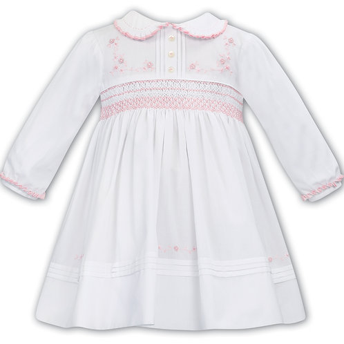 Sarah Louise Red and White dress with Smocking and Embroidery