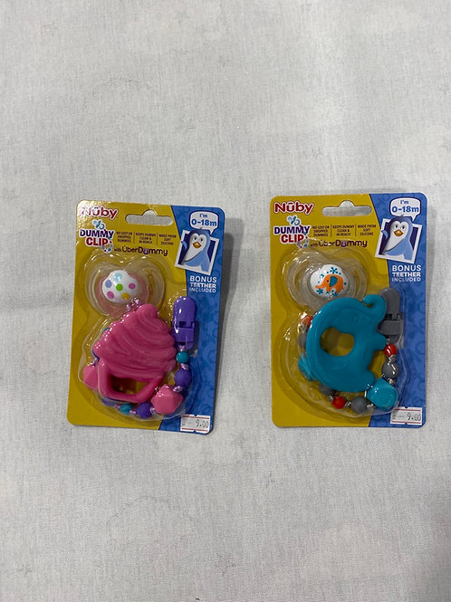 Nuby dummy clip with dummy with teether
