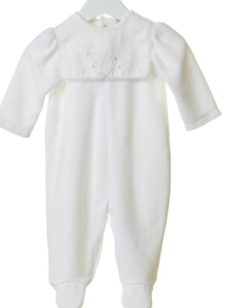 BB212 White  Velour Unisex Babygrow with matching hat