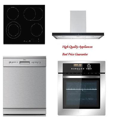 Range hood + Built-in oven + Ceramic hob + Dishwasher