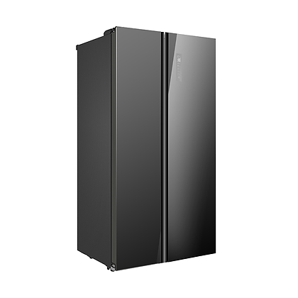 584L Side-by-Side Fridge Freezer Black Glass