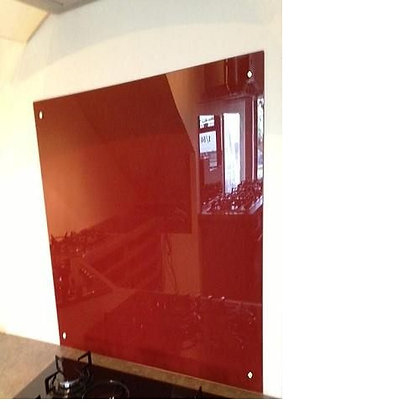 900 x 750 Red Glass Splashback