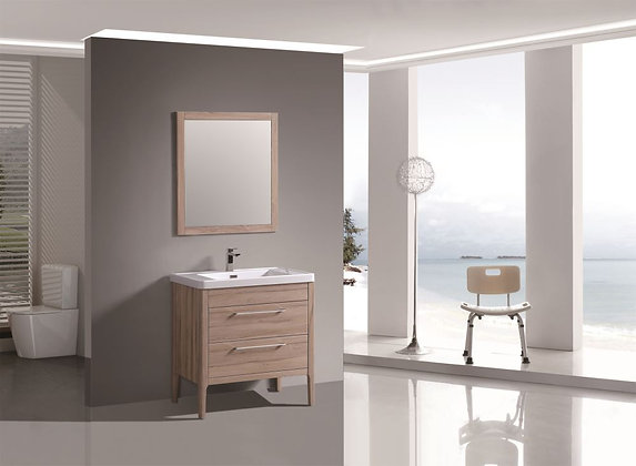 Floor standing  Vanity with Mirror,Grasse Oak Thermofoil finish