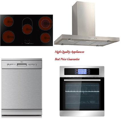 Island Rangehood + Oven + 90cm Ceramic cook top + Dishwasher