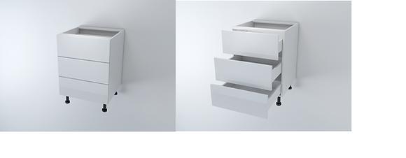 Base 3 Drawers 600W Tandem Box