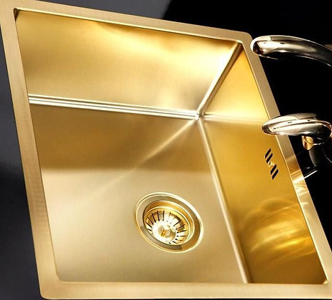 Top and under-mount Handmade Sink 130R - 550mm Gold